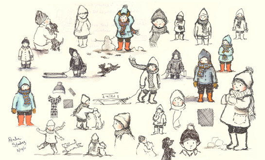 Character roughs for Lauren Castillo's THE READER