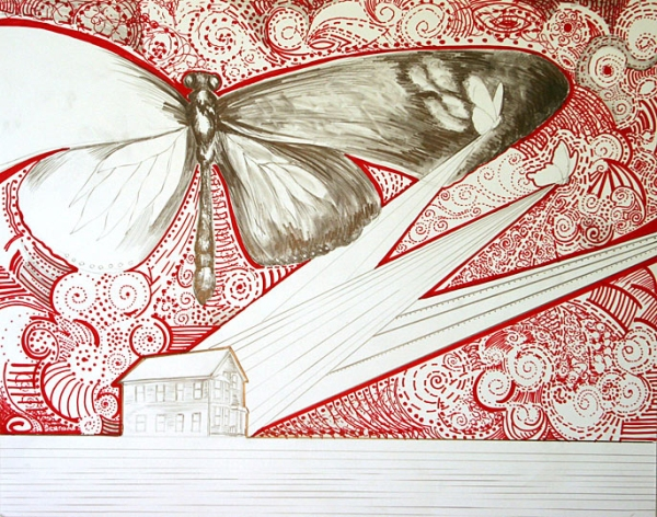 RED BUTTERFLY - pencil and marker