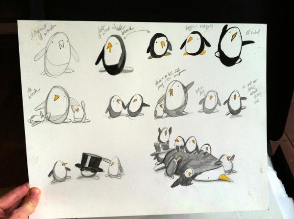penguins in pencil