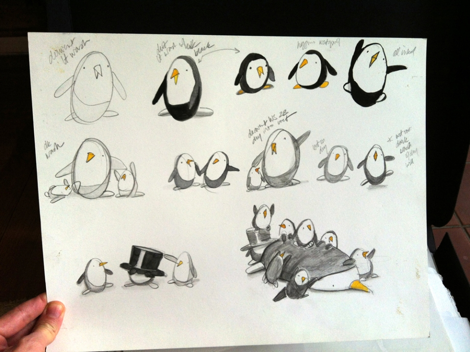 penguins in pencil