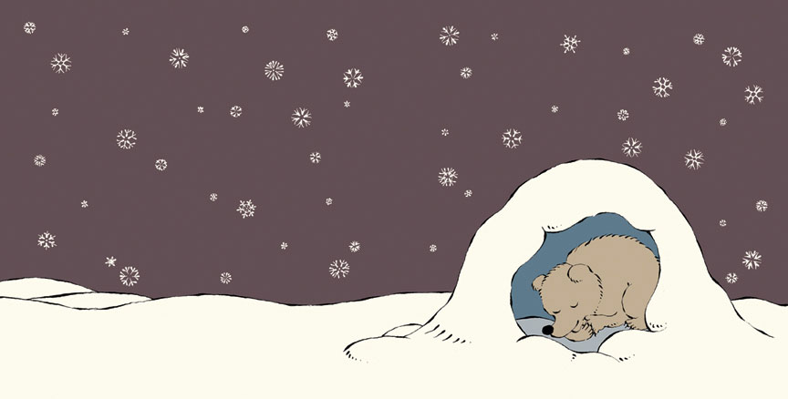 a snowy spread from Bear and Bee written and illustrated by Sergio Ruzzier coming March 2013 (Disney-Hyperion)