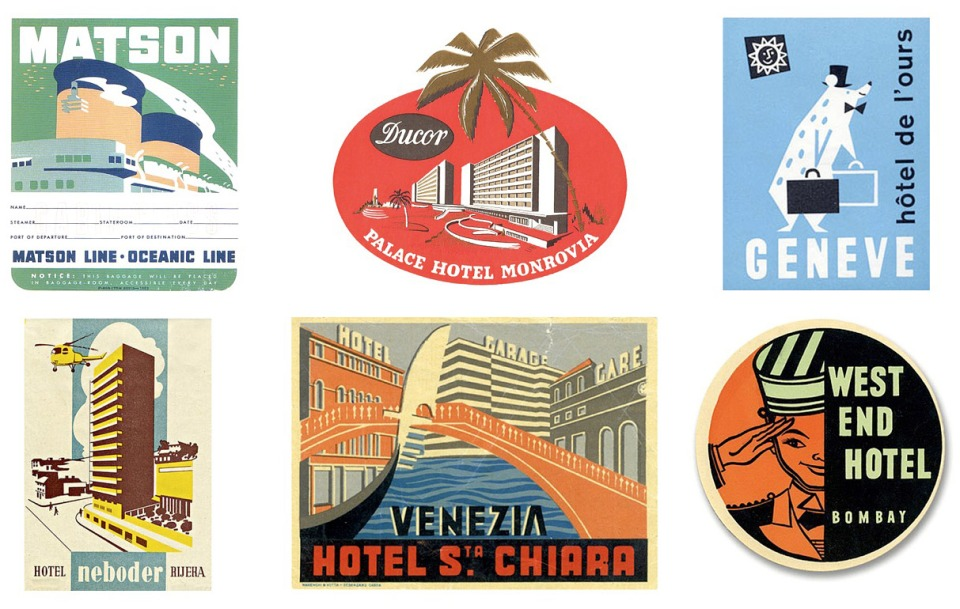 Stephen's biggest single source of inspiration: mid-century luggage labels.