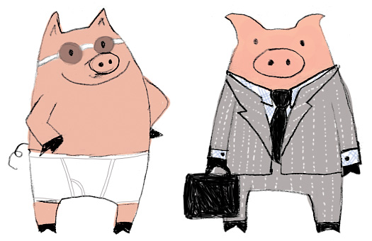 Final Swim Pig and and Business Pig. The style is a departure for me.