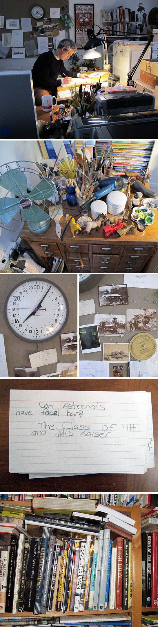 """Brian Floca's work space.From top: Brian working at his desk; some of Brian's materials and scale models. Brian uses the scale models to help him draw things from a distance; a twenty-four hour clock; old postcards serve as inspiration for his upcoming book, Locomotive; A favorite question from a child during a class visit for Brian's book, Moonshot. """"I told them I think everyone can have facial hair now. It's been sort of a facial hair revolution in space but initially I think you had to be clean shaven.""""; Research books for Locomotive."""