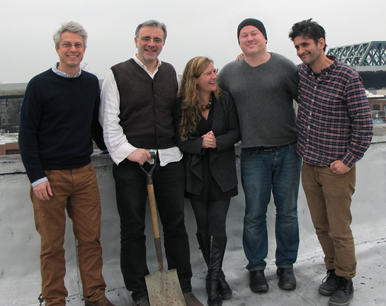 The illustrators on the roof of their studio space. From left: Brian Floca, Sergio Ruzzier, Sophie Blackall, Edward Hemingway, and John Bemelmans Marciano.