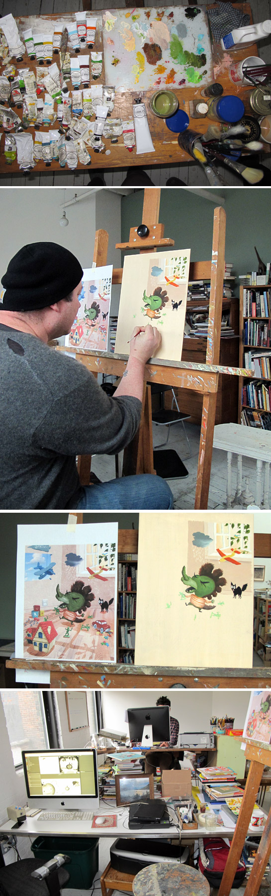 """EDWARD HEMINGWAY'S WORK SPACE. From top: Eddie's oil paints; Eddie working on a painting for an as-yet-to-be-named project; a sketch(left) and the beginnings of a final oil painting. The sketch looks like it could be a final right? Eddie uses a combination of drawing and collage for his sketches. """"Actually it loosens me up in a way.""""; Eddie's computer with a black & white comp of the sequel to Bad Apple."""