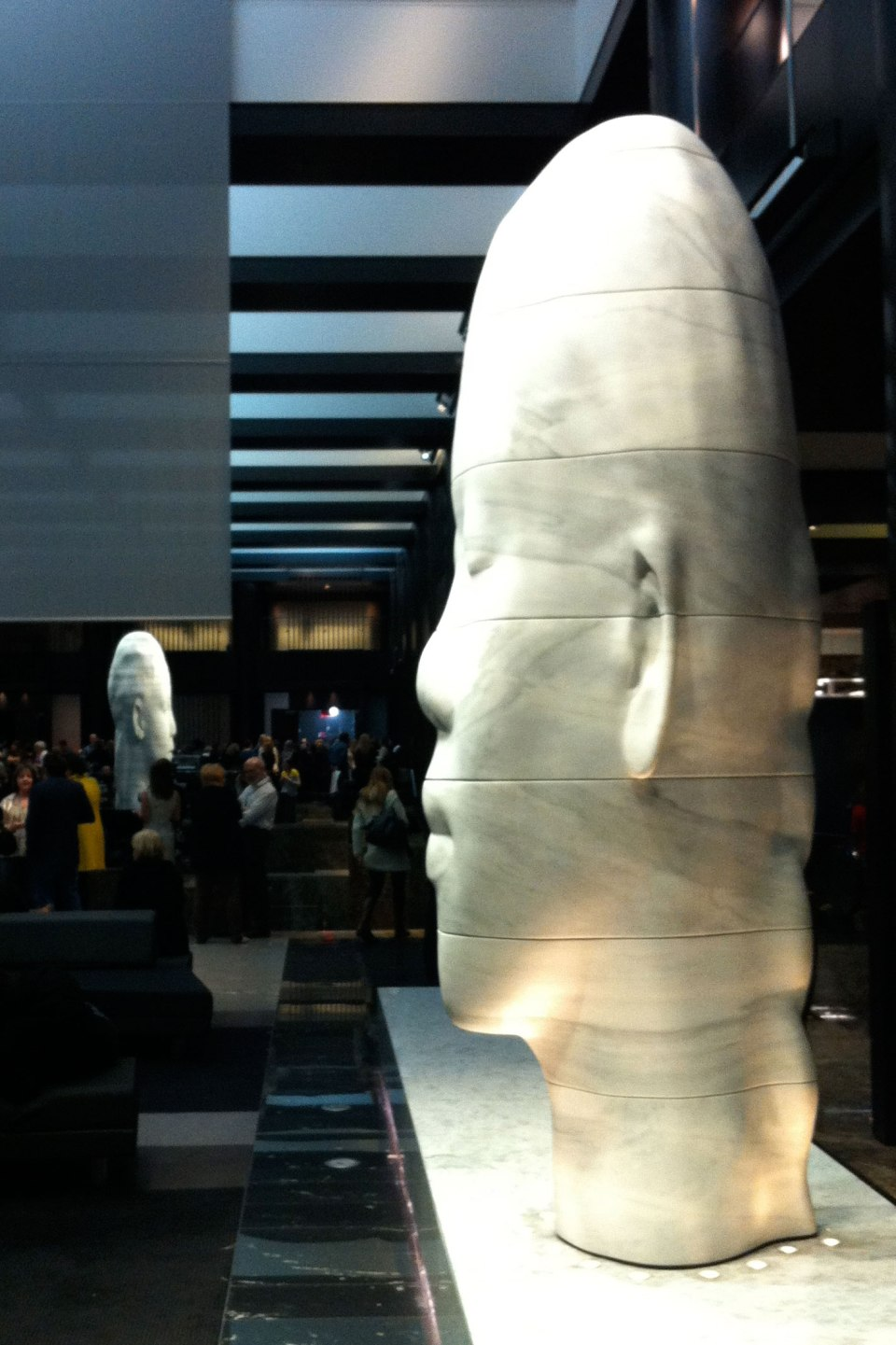 Jaume Plensa sculptures in the Grand Hyatt lobby.
