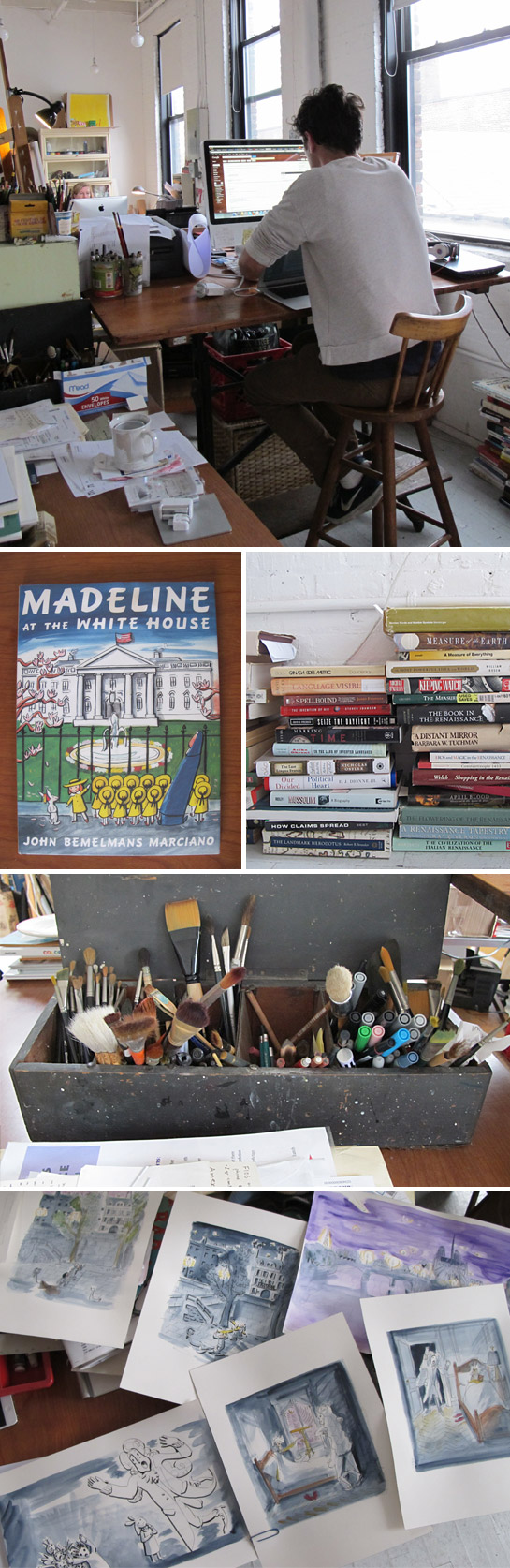 "JOHN BEMELMANS MARCIANO'S WORK SPACE. From top: Johnny at his desk; A recent Madeline; Piles of book for research; lots of brushes; Potential finals for JBM's upcoming book, Madeline and the Old House in Paris.""Most books I've probably done have one or two night scenes and this entire book takes place at night so I'm like, how do you do everything that's at night and not make it always look the same? So I was trying different colors and line work."""