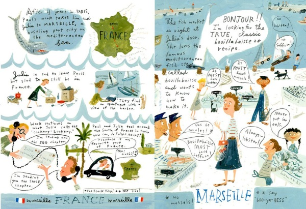 Spread from Bon Appetit! The Delicious Life of Julia Child by Jessie Hartland (Click to enlarge.)