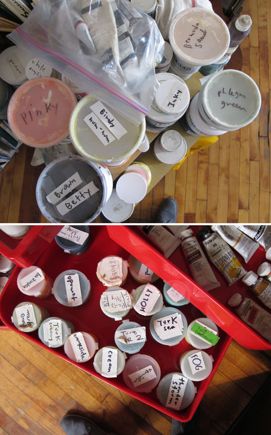 Jessie's gouache paints, each with its own descriptive name.