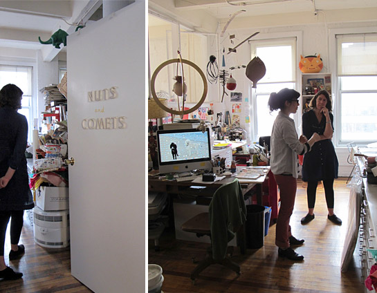 LEFT: The door to the studio space Jessie shares with her physicist husband. RIGHT: Liz and Jessie in the studio.