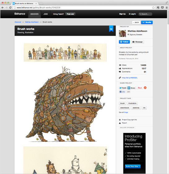 Mattias Adolfsson uses Behance in addition to his blog site.