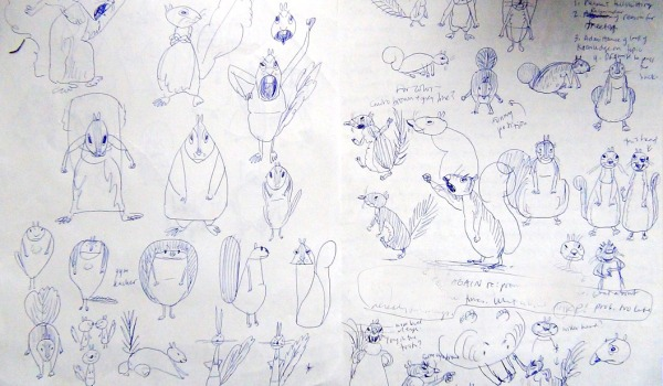 Early sketches for the Ol' Mama Squirrel character.