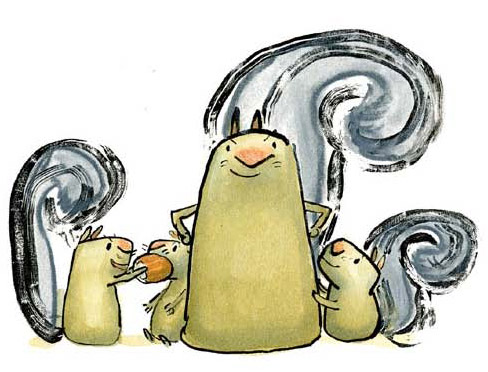 """A portrait of the final squirrel family from the book: """"I kept trying to give them a small nose. [My wife] said squirrels have big noses! So I said fine. I'll do the big nose. But then I took some liberties with the rest of the body making it really tater tot-like, like a periscope shape. You don't even see their feet most of the time unless they are running or something."""""""