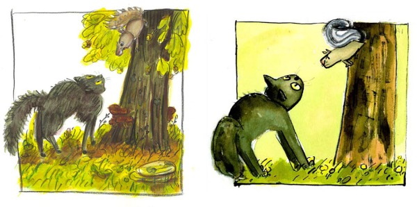 LEFT: An illustration from the first batch of final art. RIGHT: The new artwork as it appears in the book.