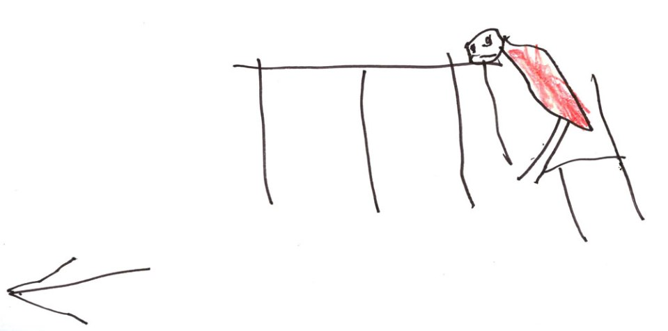 """This pathetic drawing was found hanging on the hallway bulletin board at school.At the beginning of kindergarten the class was instructed to """"draw your favorite part of the school day."""" My son chose """"dismissal"""" which is what the arrow laconically depicts. Not a stroke is wasted in communicating his feelings towards kindergarten."""