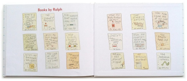 Ralph Tells a Story endpapers, by Abby Hanlon. (My daughter LOVES these titles and we read them every time.)