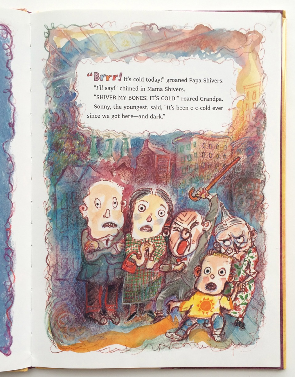 The Shivers in the Fridge interior illustration (written by  Fran Manushkin and illustrated by Paul O. Zelinsky)