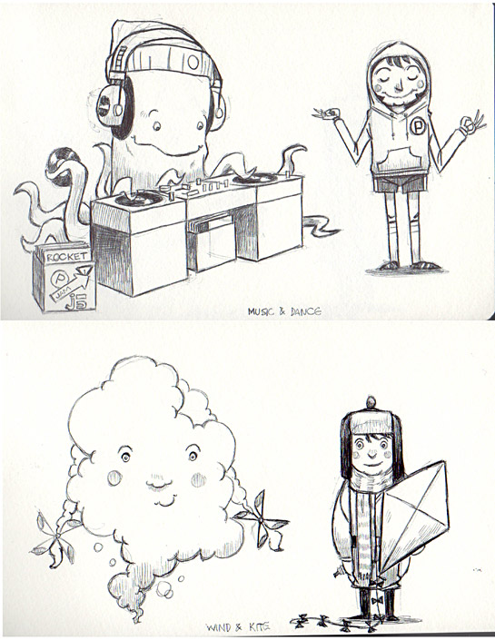 A few early sketches of the imaginary friends for Beekle.