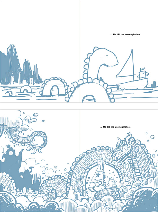 Initial sketches for the dragon spread in Beekle.