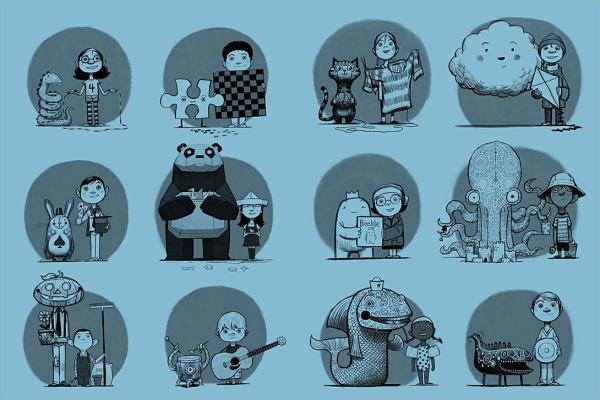 """The endpapers for Beekle: """"There's a kid with a guitar and then his best friend is this little monster that lived inside a bongo drum. He just beats himself in the head. For the longest time I kept trying to think of making some amorphous character with piano key teeth or a snail that had a shell that was shaped like a French horn. It just got a little too weird when you looked at it. I didn't want these to be aliens or variations of furry beasts. I wanted these to be imaginary friends."""""""