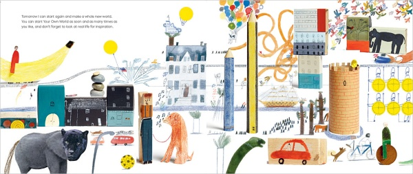 A World of Your Own by Laura Carlin: a collage of 2-d and 3-d elements on one spread.