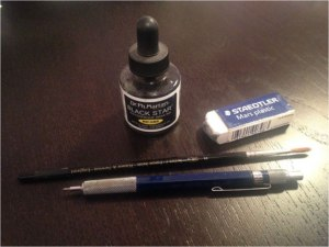Sara Varon's tools:  ink, eraser, pencil and brush