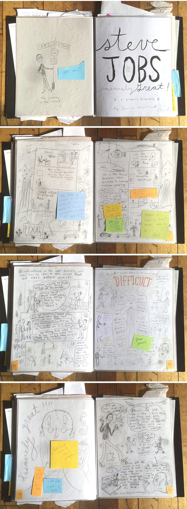 More sketches from Steve Jobs: Insanely Great by Jessie Hartland. (Click to enlarge.)