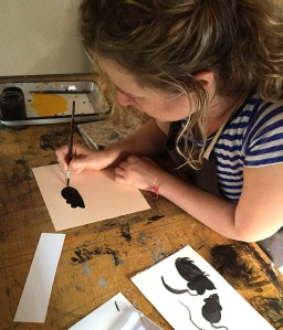 Dasha works on some mice for an upcoming picture book.