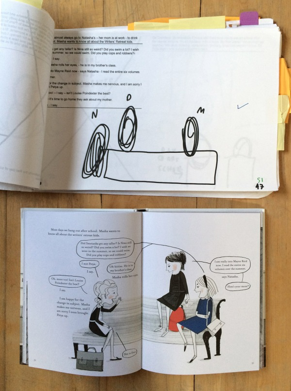 Another first dummy sketch paired with the final published spread in the book. (Click to enlarge. A Year Without Mom by Dasha Tolstikova)