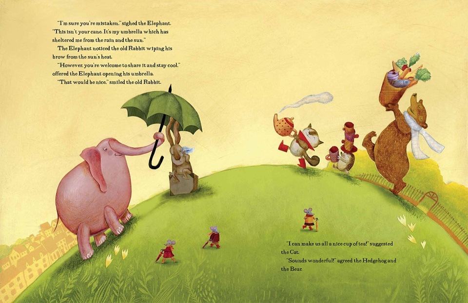 "A spread from The Green Umbrella. ""There are five main characters, with a really big range in size (from hedgehog on up to elephant!). It was challenging to make the compositions work well and still have the characters interacting in plausible ways—making eye contact, conversation and gestures… all the things that visually tell the story."""