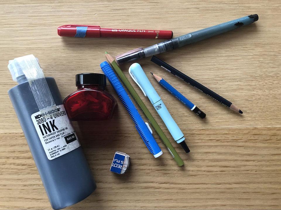 Tao Nyeu illustration tools, ink